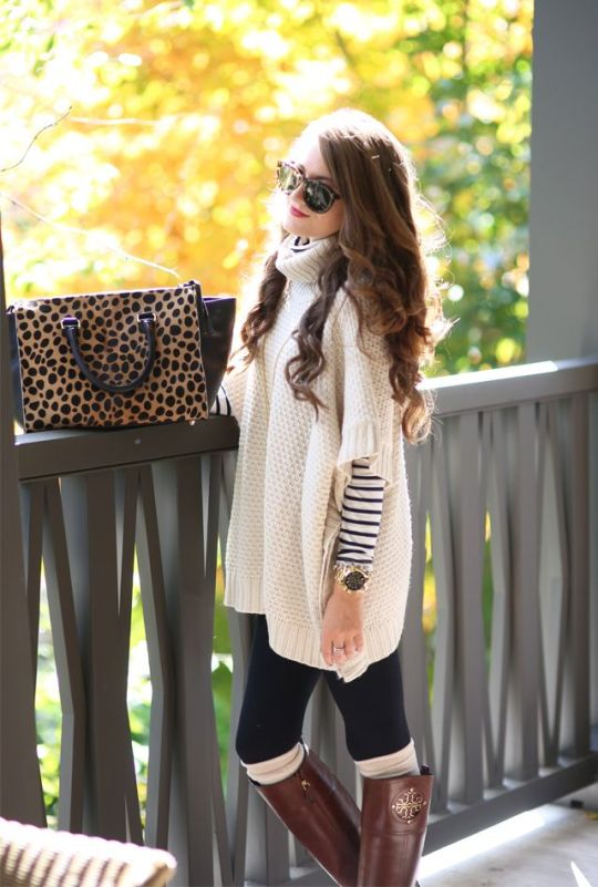 leggings and oversized sweater